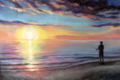 """Fishing at Sunset, oil on canvas, 10 x 14"""""""
