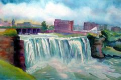 "High Falls, Friday, watercolor, 14.5 x 22"""