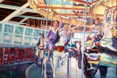 "Three Generations at Seabreeze., oil on canvas, 24 x 30"""