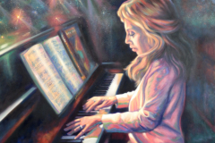 """Piano Practice, oil on canvas, 24 x 30"""""""