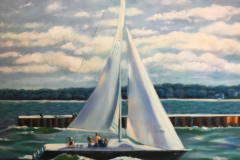 """Sailboat at Charlotte, oil on canvas, 24 x 30"""""""