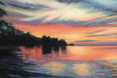 Wautoma Beach Sunset V, oil on canvas, 24 x 30""
