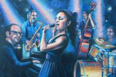 "Jazz Singer, oil on canvas, 24 x 30"""