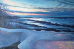 "Winter Sunset- Wautoma Beach, oil on canvas, 24 x 30"""