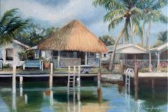 "Chickee Hut, Goodland, Fla., oil on canvas, 12 x 16"""