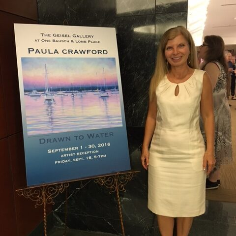 """Paula Crawford at her solo exhibit """"Drawn to Water"""" at Giesel Gallery, Bausch and Lomb, Rochester, New York"""